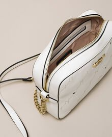 """Openwork faux leather shoulder bag """"Ice"""" White Woman 201MO8013-05"""