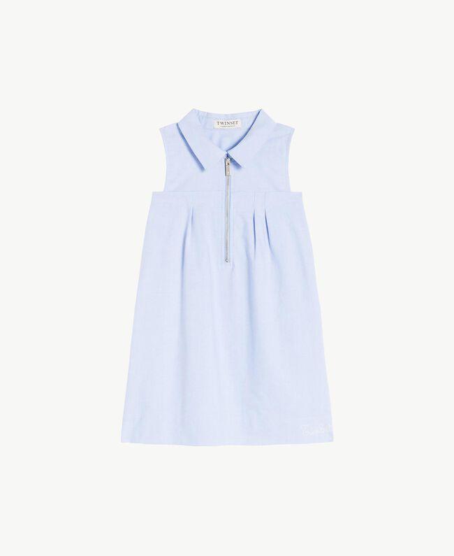 Kleid mit Raffung Jacquard Unendlichkeits-Azur Kind GS82QA-01