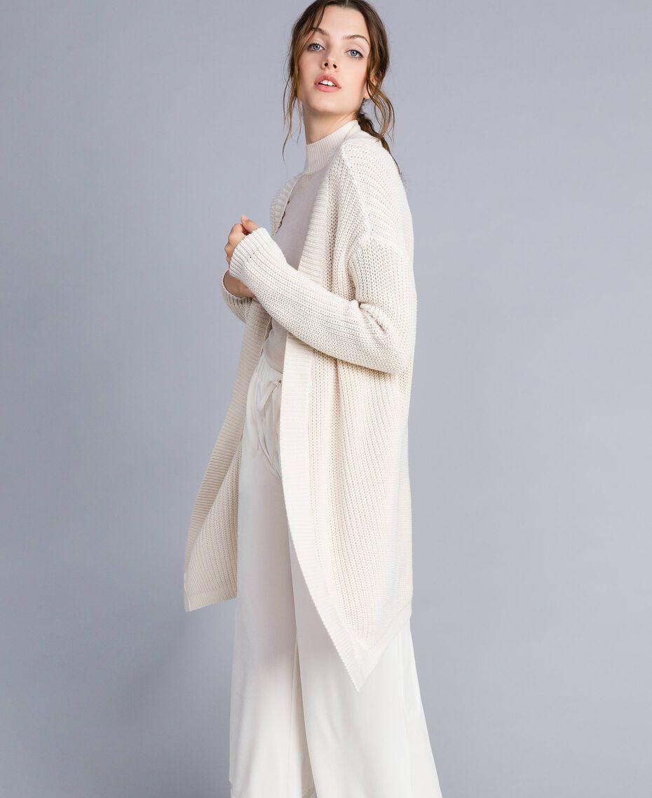 Maxi cardigan en coton et laine Blanc Femme IA87AA-02