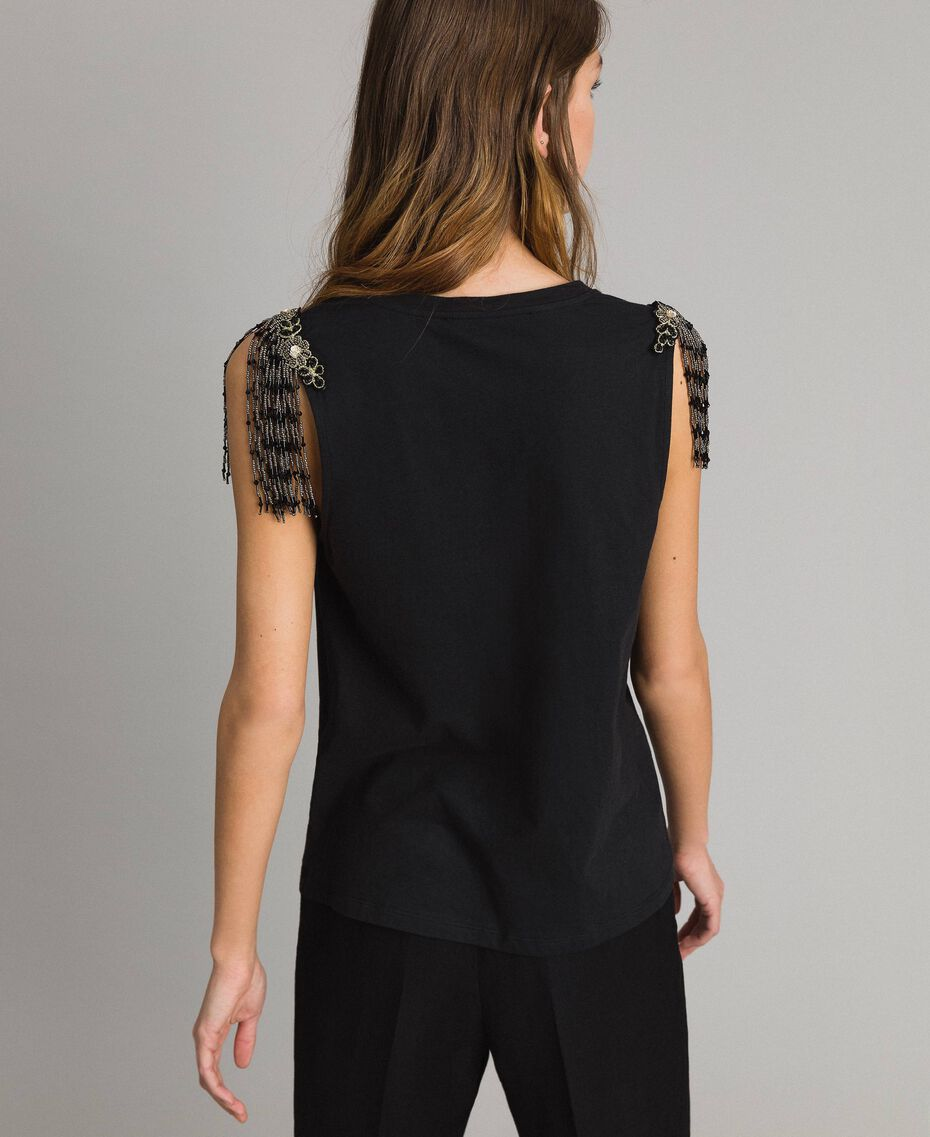 Tank top with sequin and bead embroidery Black Woman 191TT2350-03