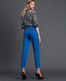 Pantalon cigarette avec bandes en velours Bleu Japonais Femme 192MP2173-03