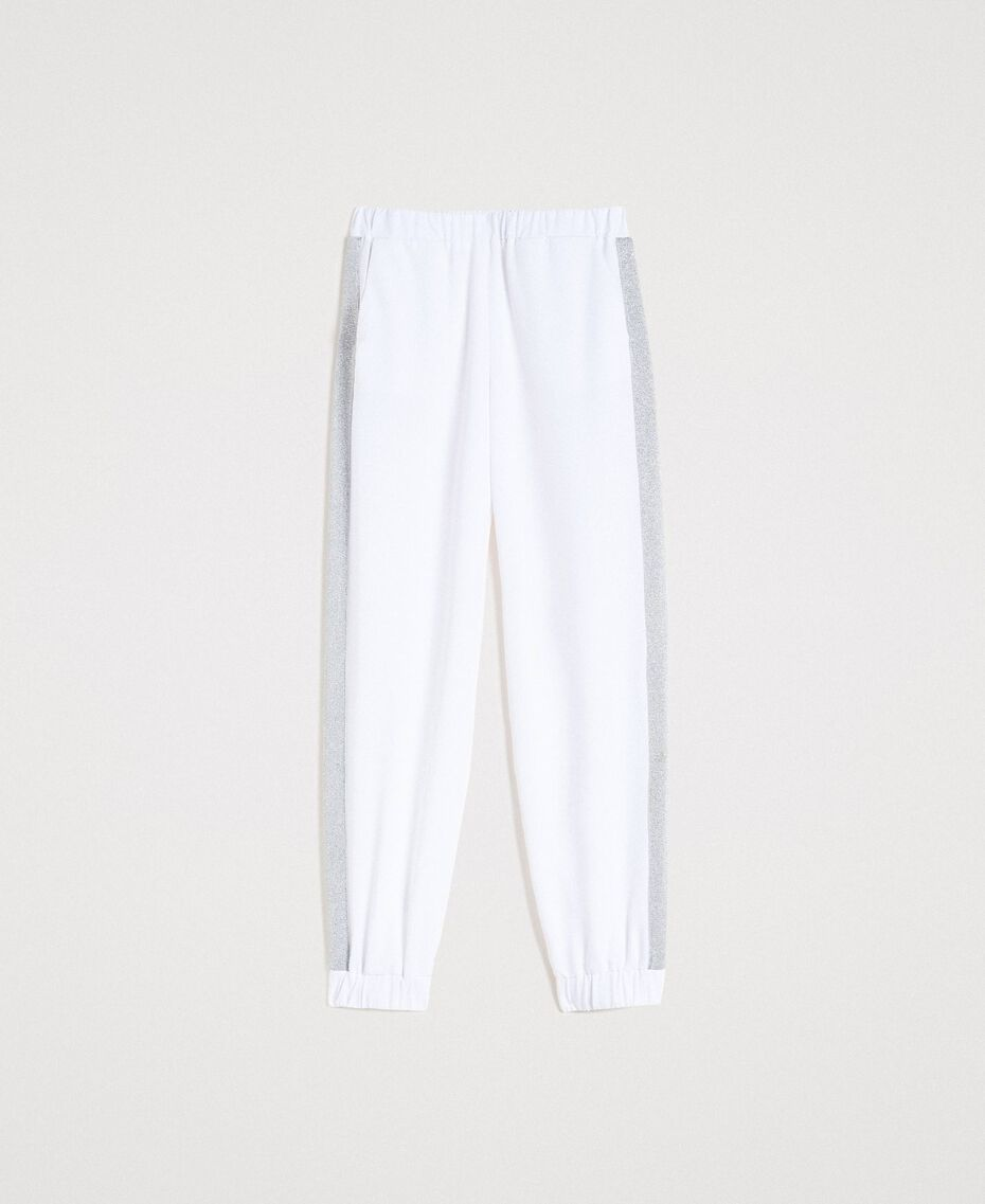 Jogging trousers with lurex panels White Woman 191LL25KK-0S
