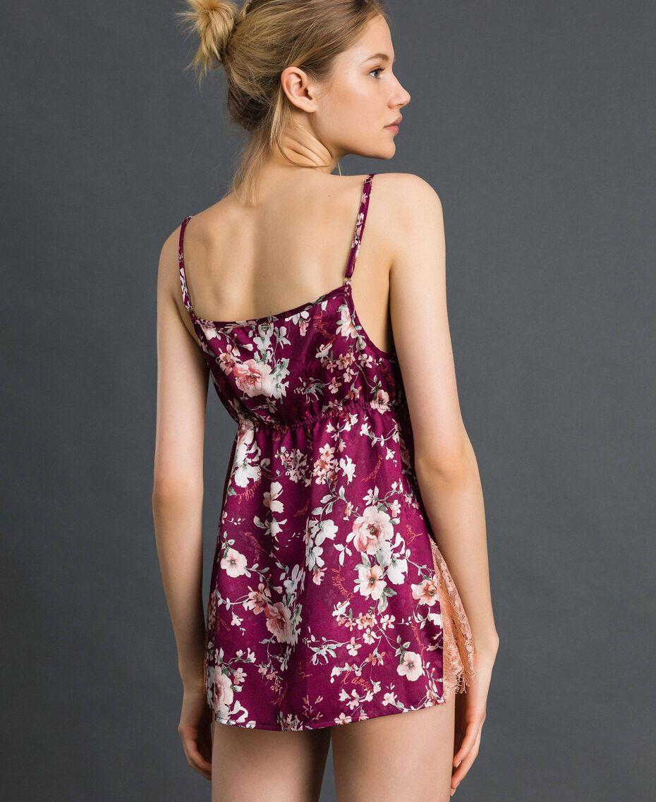 Top jacquard floral avec dentelle Imprimé Fleurs Rouge Violet Femme 192LI25DD-03