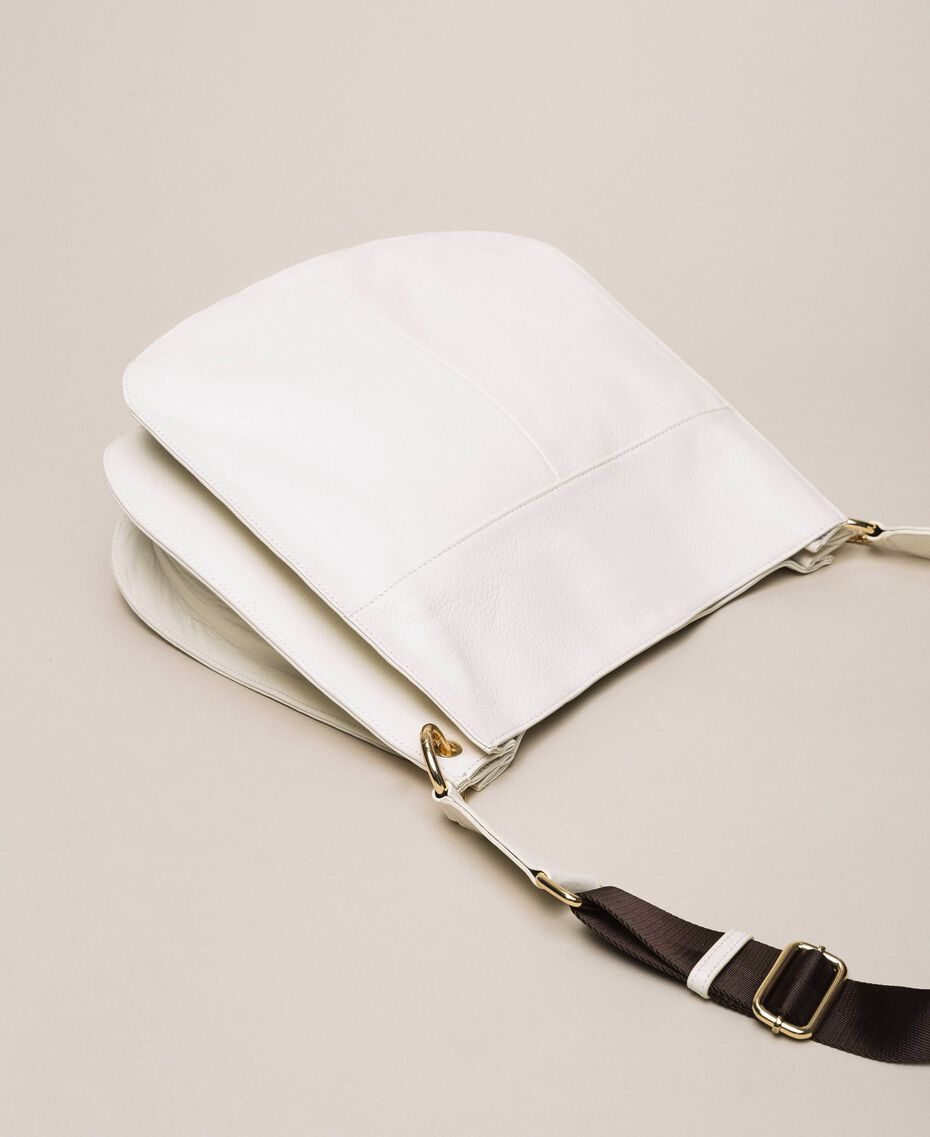 Leather hobo bag with heart White Snow Woman 201TA7050-03