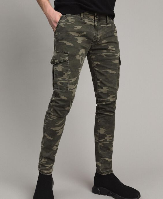 Camouflage print cotton cargo trousers