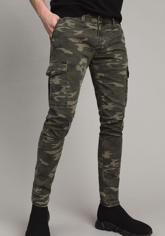 Pantalon cargo en coton à imprimé camouflage