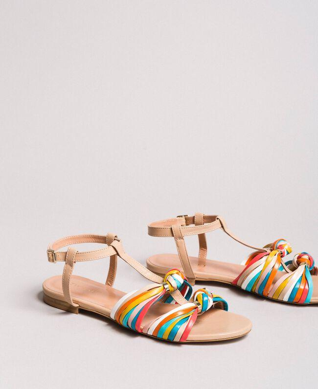 """Sandales en cuir multicolores Beige """"Nude"""" Femme 191TCT09E-01"""