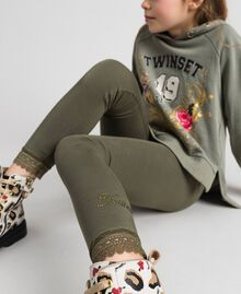 Jersey leggings with lace Alpine Green Child GCN2F4-01