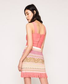 Short skirt with fringes Multicolour Pink Jacquard Woman 201TT3163-03