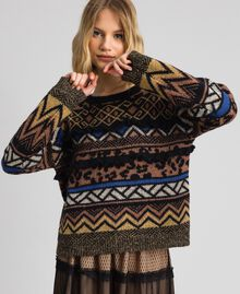 Wool and mohair jumper with jacquard patterns Geometric Animal Print Mix Jacquard Woman 192ST3190-01