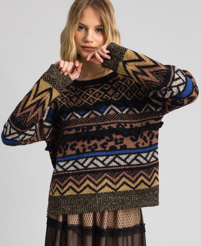 Pull en laine et mohair avec motifs jacquard Jacquard Mélange Géométrique Animalier Femme 192ST3190-01