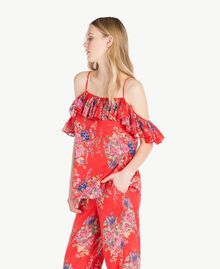 Printed top Red Flower Bouquet Print Woman YS82PK-02