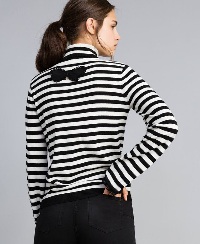 Striped cashmere blend mock neck jumper Black / Mother-of-pearl White Stripe Woman SA83FN-03