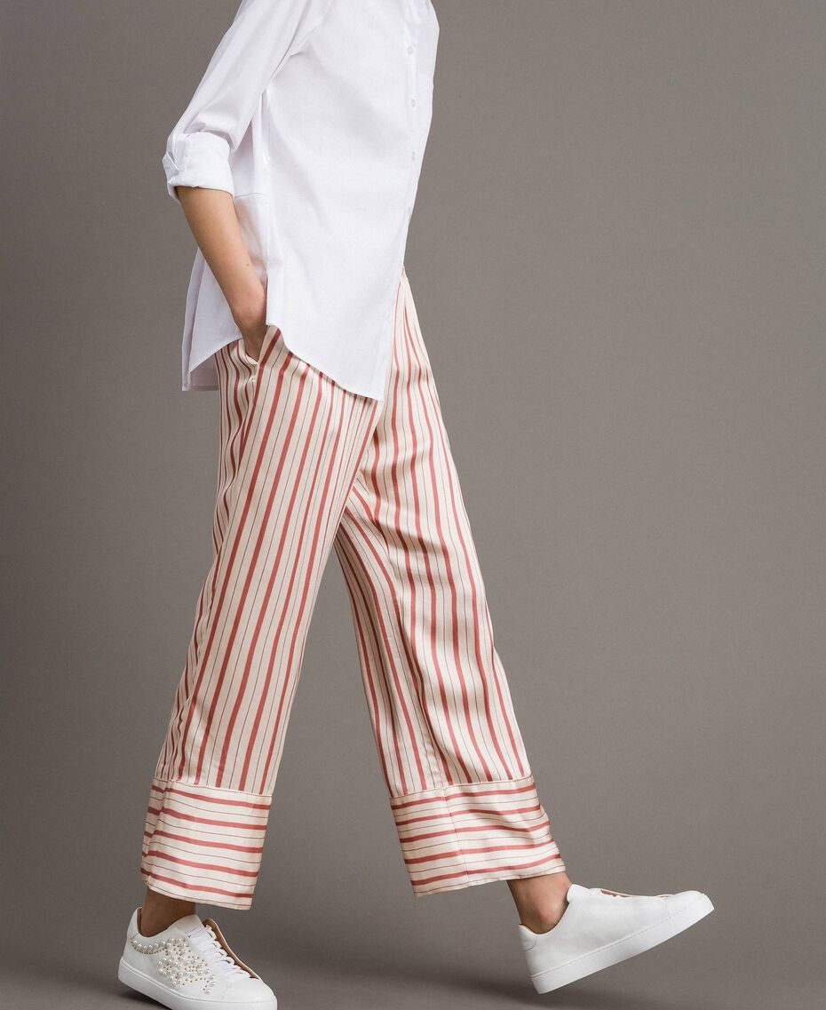 Striped satin trousers Pearl Pink Striping Woman 191TP245B-02