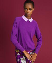 Pull en mélange de laine et crêpe georgette Violet / Rose «Glycine» Femme 192ST3060-01