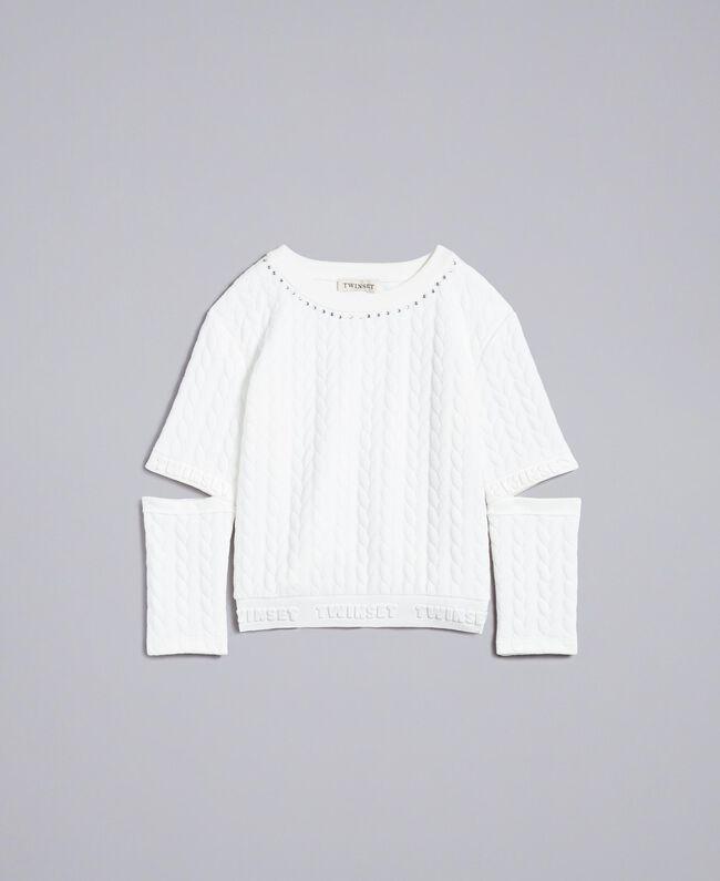 Stepp-Sweatshirt mit Strass Mattweiß Kind GA82NN-01