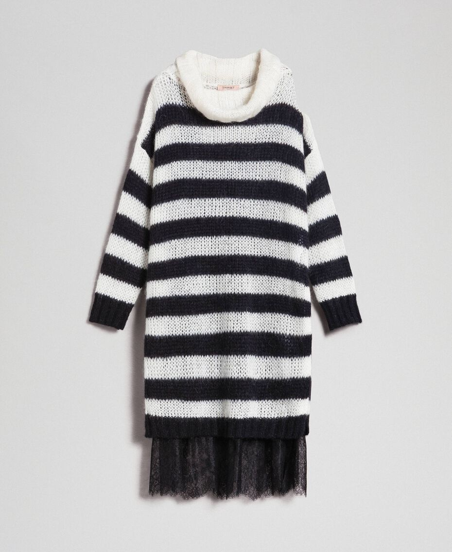 "Striped mohair dress with slip Black / ""Papyrus"" White Stripe Woman 192TP3270-0S"