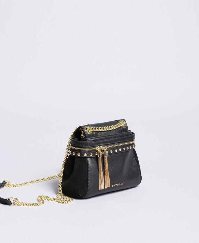Petit sac Cécile Deux en cuir et cuir velours Noir Femme OA8TC2-01