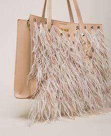 Faux leather shopper with rhinestones and feathers Beige Cremino Woman 201TA7190-03