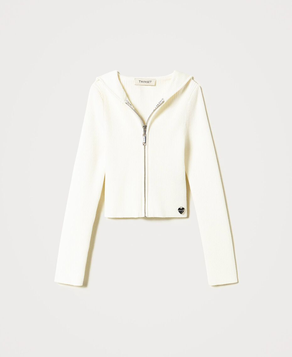 Ribbed hooded cardigan Off White Child 211GJ3503-0S