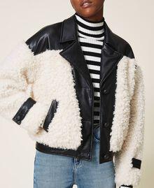 Faux fur bomber jacket Two-tone Black / Cloth White Woman 202MP2270-04