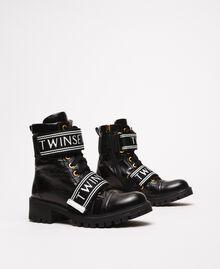 Кожаные ботинки-амфибии с логотипом Черный женщина 201TCP132-01
