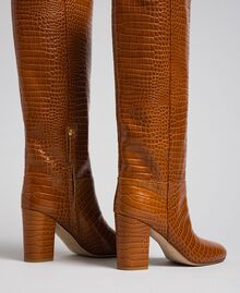Leather boots with crocodile print Crocodile Leather Print Woman 192TCT036-03