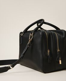 Bowler bag with dual compartment Black Woman 202TB7030-04