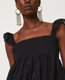 Muslin top with broderie anglaise embroidery Black Woman 211TT2593-04