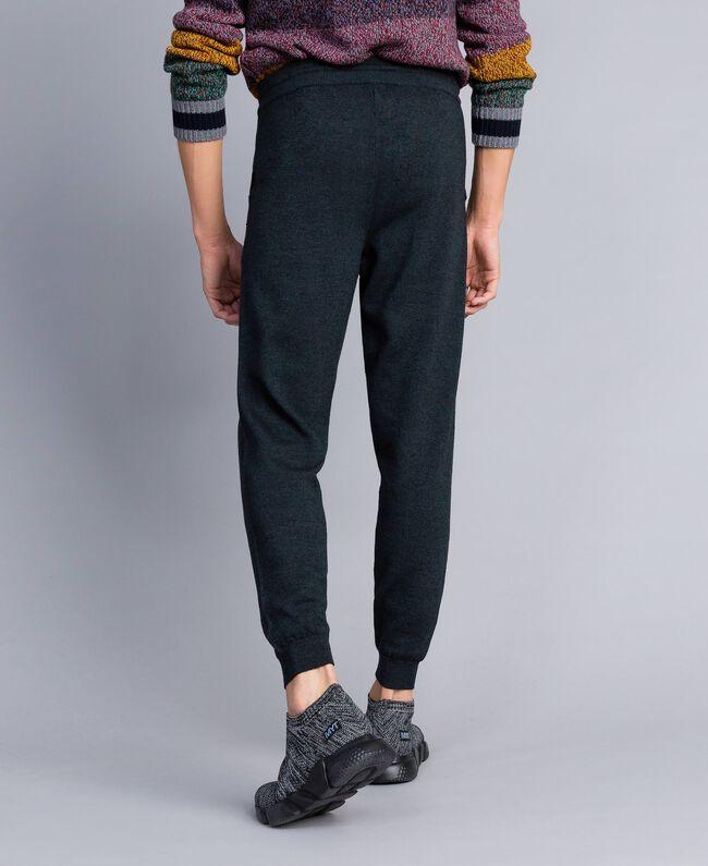 Pantalon de jogging en coton et laine Bicolore Bleu Nuit / Gris Anthracite Homme UA83BC-03