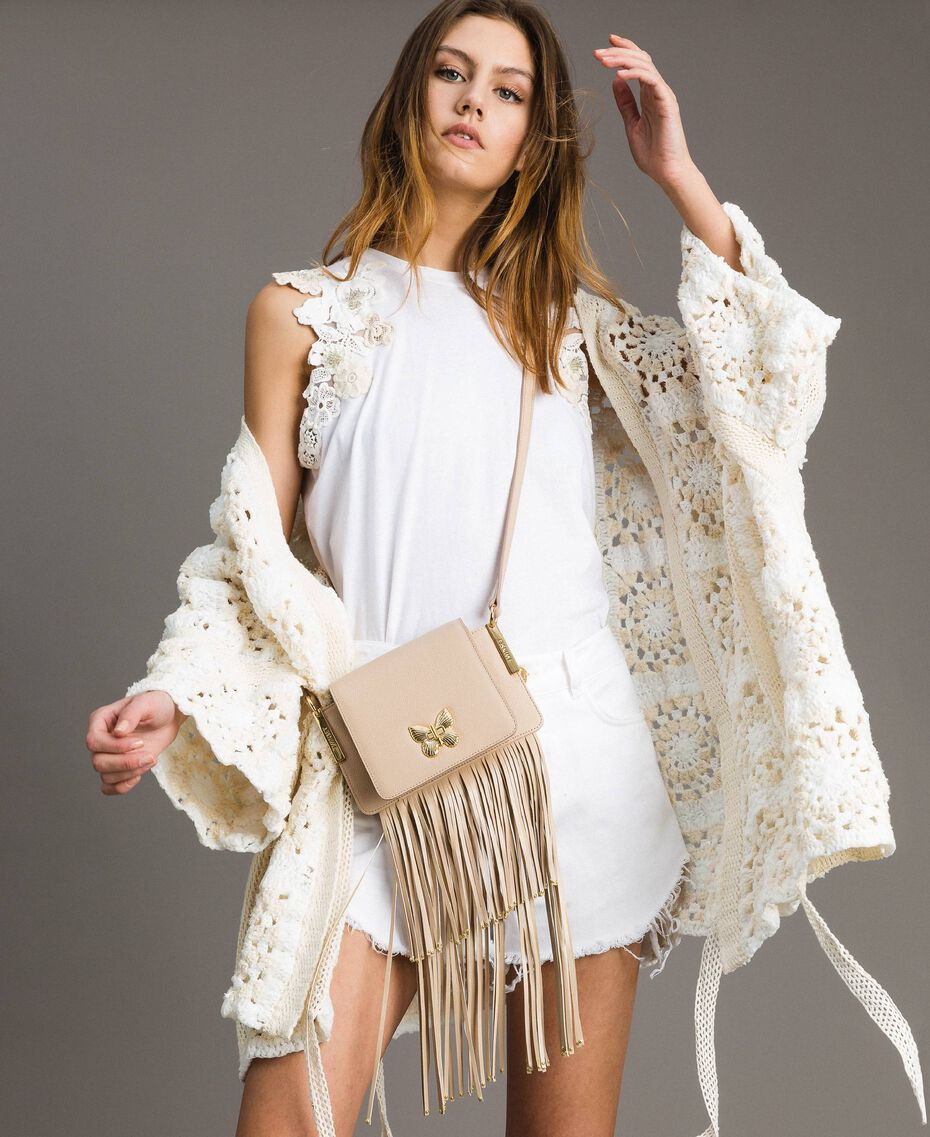 "Leather Bea shoulder bag with fringes ""Marzipan"" Beige Woman 191TO8231-0S"