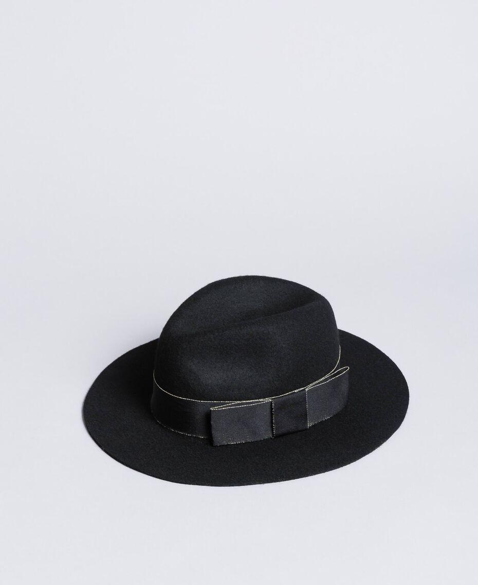 Chapeau avec ruban en contraste Noir Femme OA8T91-02