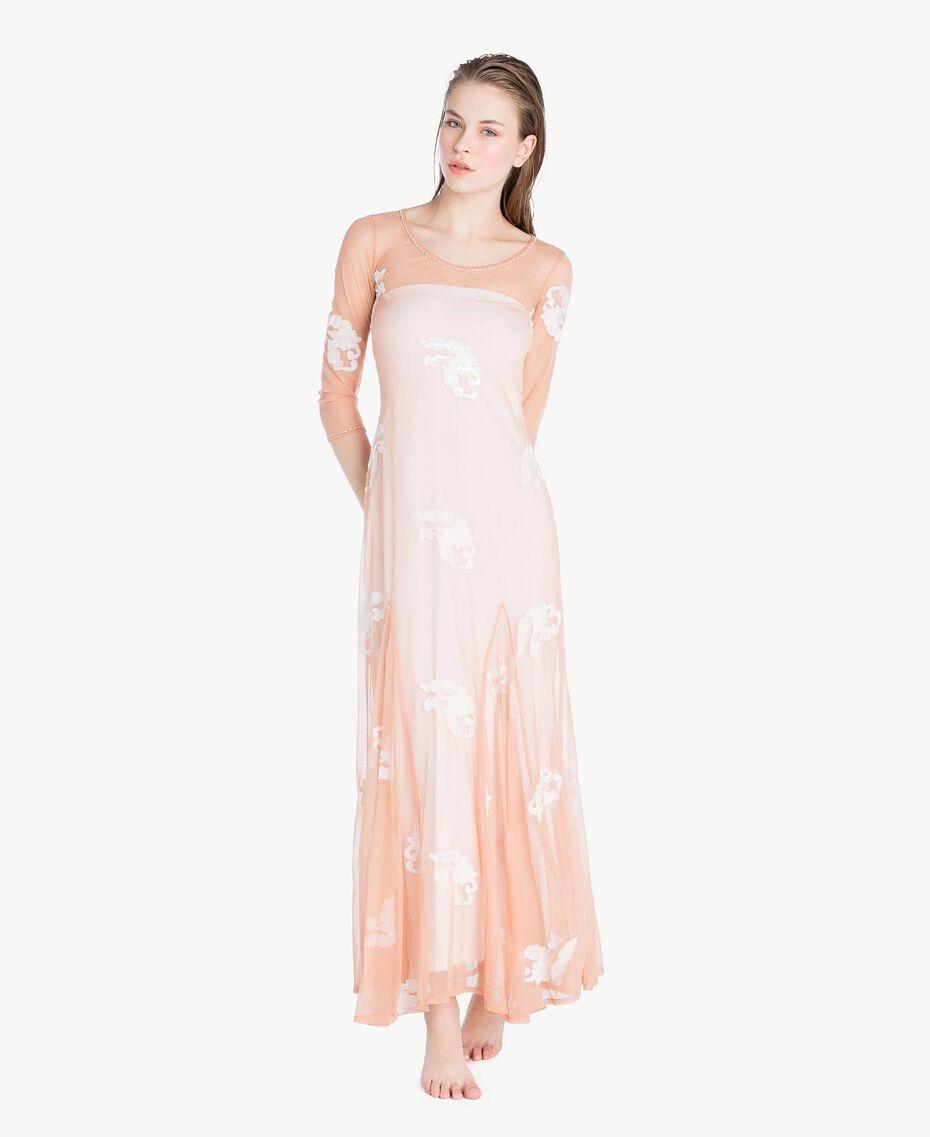 Langes Kleid mit Stickerei Elfenbein Frau MS8BJJ-02