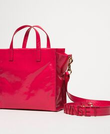 """Medium leather shopper with logo """"Jazz"""" Pink Woman 201TO8091-04"""