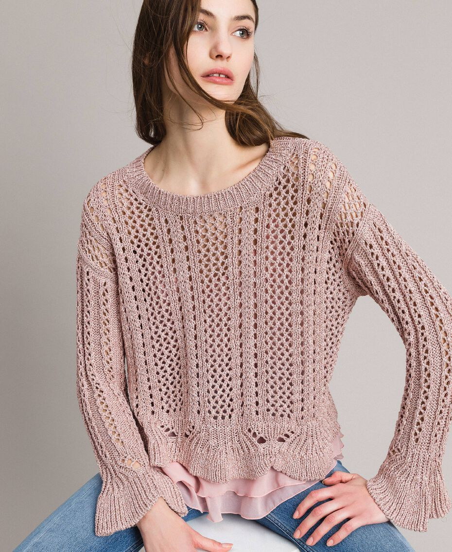 Pull en lurex point dentelle Lurex Rose Perle Femme 191TP3351-01