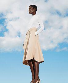 Skirt with multicolour gros-grain Soufflé Nut Brown Woman 202LI2EBB-01