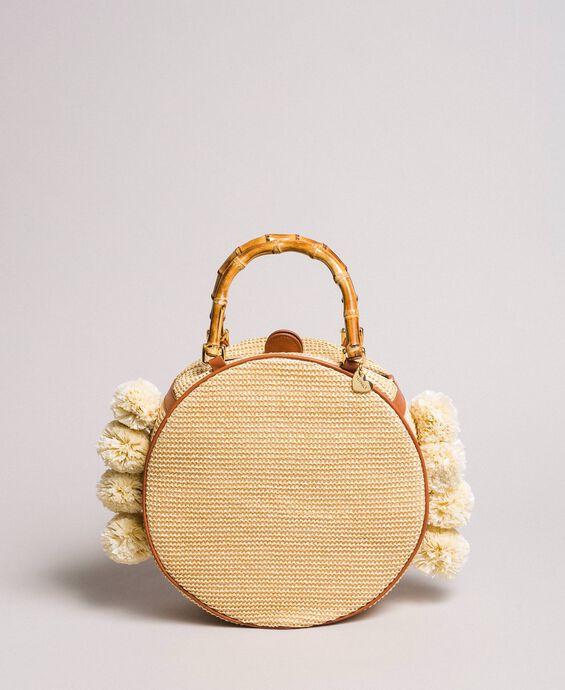 Straw shoulder bag with pompom
