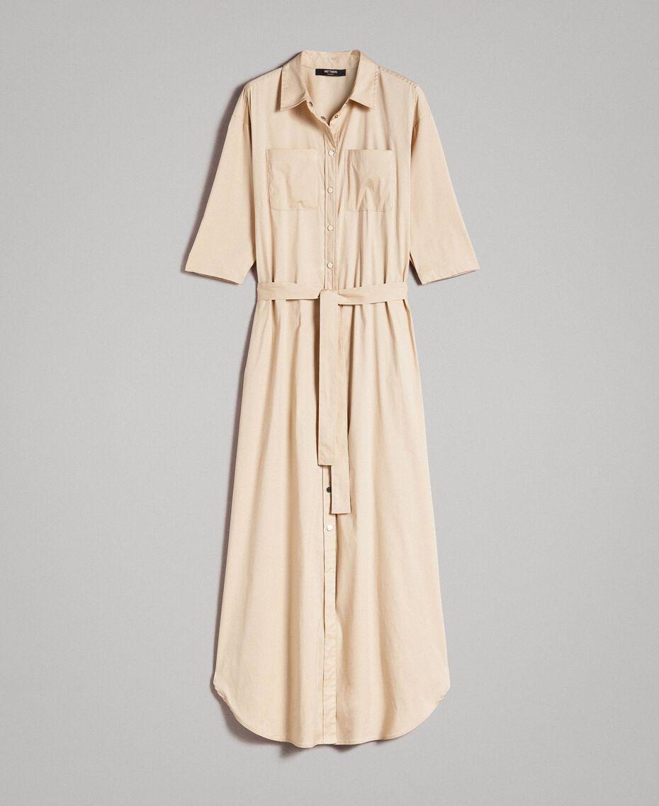 Langes Hemdblusenkleid aus Popeline Porzellan Beige Frau 191MP2210-0S