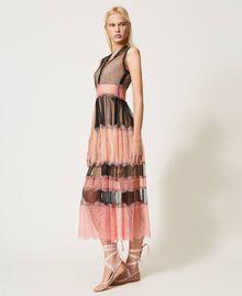 Robe longue en tulle et dentelle Bicolore Noir / Rose «Pêche Blossom» Femme 202TP2202-05