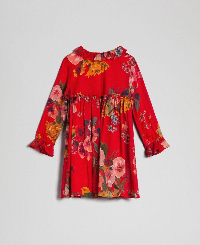Vestido de georgette con estampado de flores Estampado Rojo Beet Geranio Niño 192GB2720-01