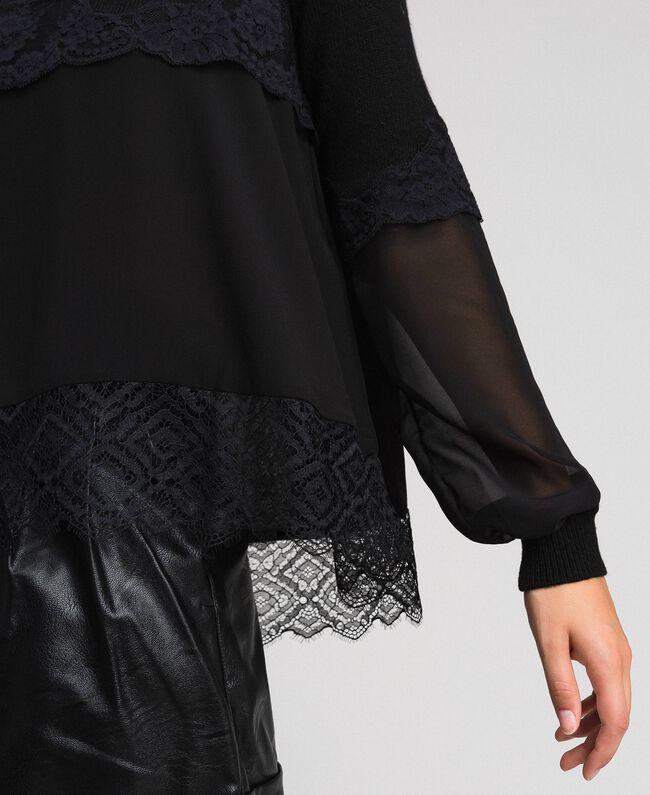 Pull avec crêpe georgette et dentelle Noir Femme 192TT3082-04