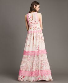 """Georgette-Maxikleid mit Blumenmuster Motiv """"Blossom / Peach Mix"""" Pink Frau 191TP2713-03"""