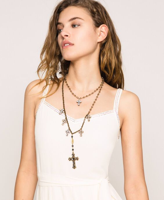 Rosary necklace with crosses and pendant