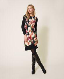 Robe en maille florale Fleur Chiné Noir Femme 202TT3342-01