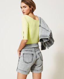Short taille haute en jean Denim Gris Femme 211MT2567-04