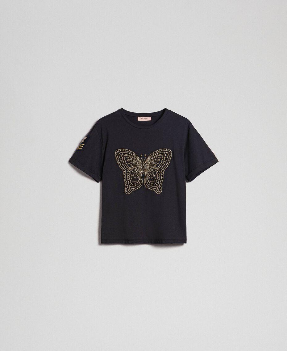 T-shirt con ricamo lurex a farfalla Nero Donna 192TT2560-0S