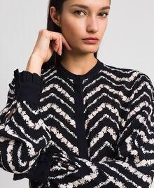 """Chevron floral print shirt dress Black / """"Snow"""" Chevron Print Woman 192TP2523-04"""