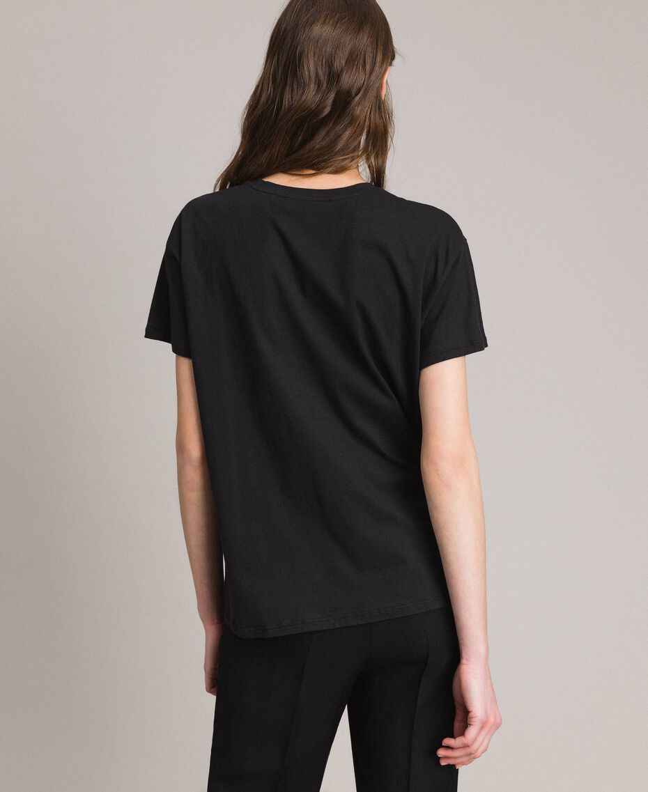 Washed T-shirt with print Black Woman 191TT2490-03