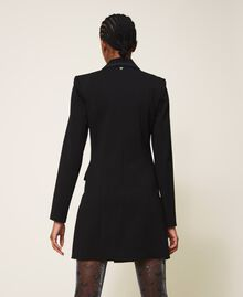 Длинный пиджак с деталями из крепдешина Черный женщина 202MP2291-04