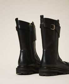 Leather combat boots with strap Black Woman 202TCP180-04